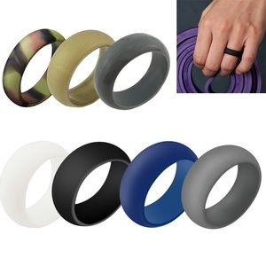 7 Pack Men Durable Silicone Wedding Band Rings Set